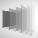 Perspective transparent gray abstract rectangles on white background