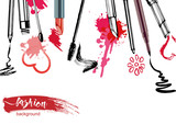 Fototapety Cosmetics and fashion background with make up artist objects: lipstick, mascara eyeliner.  With place for your text .Template Vector.