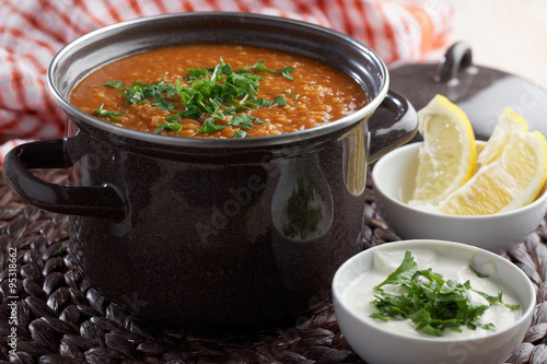 """Red lentil soup and Greek yogurt"""" Stock photo and royalty-free images ..."""