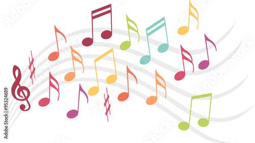 Fototapeta Notes de musique colorées sur une portée
