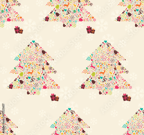 Seamless pattern with ornamental Christmas tree with reindeers,