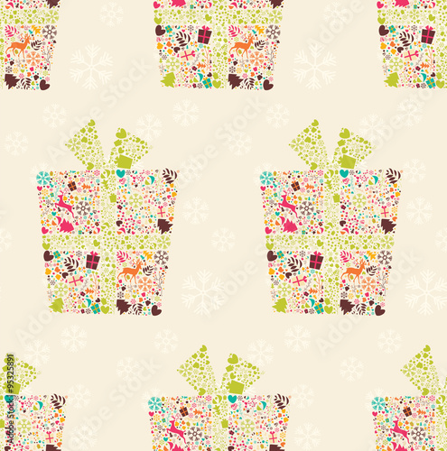 Seamless pattern with ornamental Christmas gift box with reindee