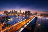 New York City - beautiful sunset over manhattan with manhattan and brooklyn bridge - 95331610