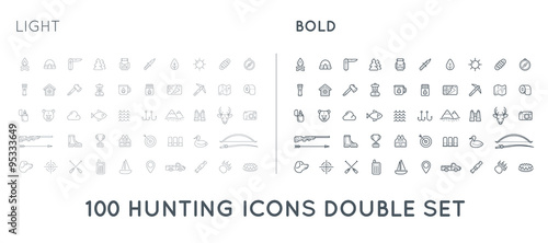Aluminium Hipster Hert Set of Thin and Bold Vector Hunting Camping Sport Elements Illustration can be used as Logo or Icon in premium quality