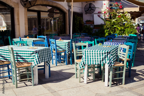 Cyprus tavern. A view of the cafe, restaurant, cypriot taverna, tables and the souk leading to the castle square