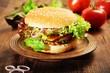 Fresh Homemade Veggie Burger with mushroom-hazelnut patty