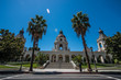 Pasadena City Hall and Giant Palm Trees on a Bright Sunny Day
