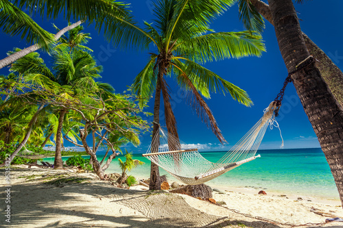 Empty hammock in the shade of palm trees on tropical Fiji
