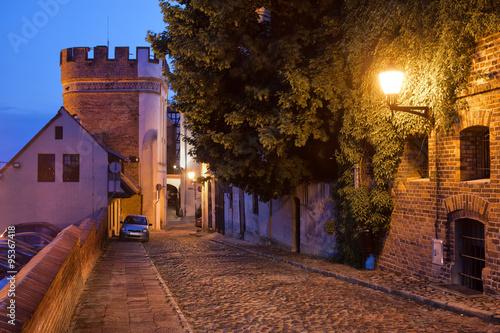 Fototapeta Podmurna Street and Bridge Tower by Night in Torun