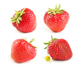 Collage of strawberries berry isolated on white © 5second