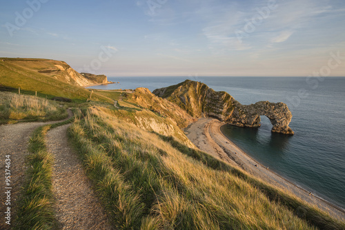 Poster Beautiful sunset landscape image of Durdle Door