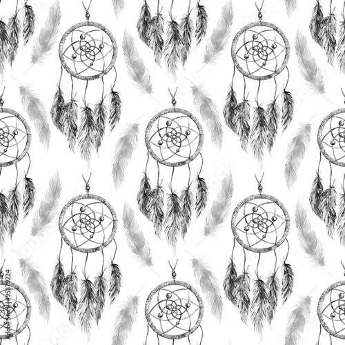 Watercolor ethnic tribal hand made black and white monochrome feather dream catcher seamless pattern texture background - 95379224