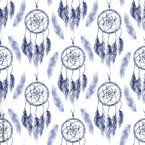 Watercolor ethnic tribal hand made navy blue monochrome feather dream catcher seamless pattern texture background - 95379408