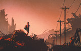 Fototapety woman hiker looking at abandoned city,illustration painting