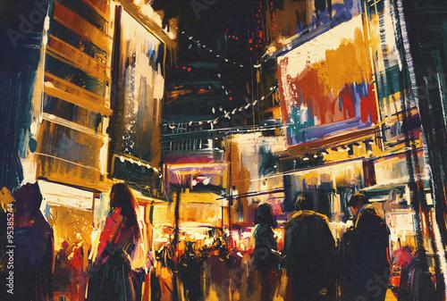 Fototapeta colorful of night city,digital painting