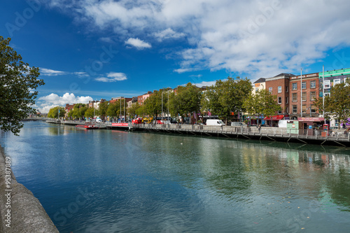 North bank of the river Liffey at Dublin City Centre on a beautiful day Poster