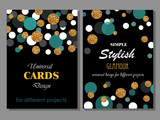Fototapety Collection of Universal Modern Stylish Cards Templates with Goldlen Glitter Dots.