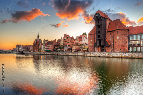 Old town of Gdansk with ancient crane at sunset, Poland