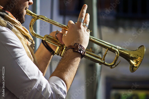 Poster trumpet player on the street