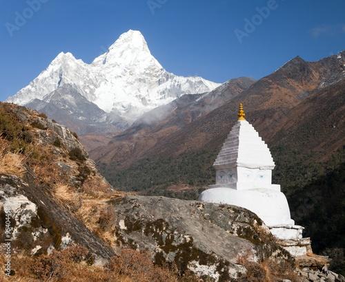 Mount Ama Dablam with stupa near Pangboche village
