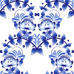 Beautiful seamless pattern with blue flowers gzhel style.