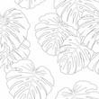 Cotton fabric Mostera Leaves Seamless Pattern