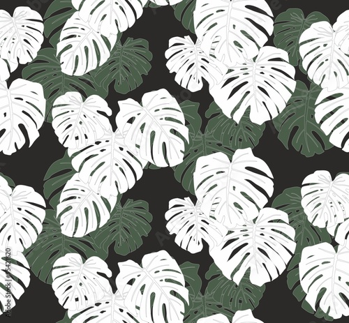 Cotton fabric Mostera Leaves Seamless Pattern