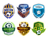 Set of Soccer Football Crests and Logo Emblem Designs. Football Championship Emblem Design Elements - 95425080