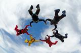 Fototapety Skydiving team work group