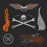 Vintage vector motorcycle logos, emblems, templates, labels, symbols  and motorbike design elements.
