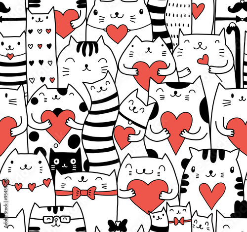 Cotton fabric Сats with hearts seamless pattern