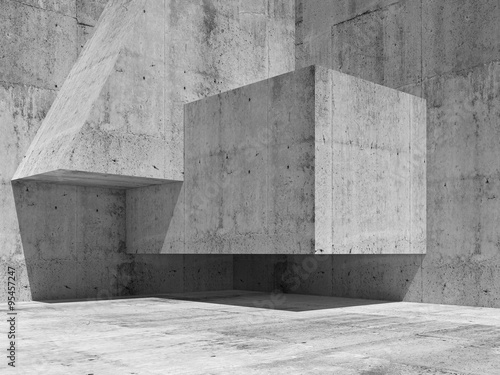 Abstract concrete interior fragment, 3d render