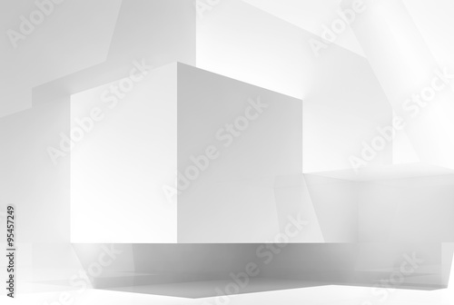 Abstract white empty interior background 3d
