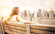 Obrazy na płótnie, fototapety, zdjęcia, fotoobrazy drukowane : Beautiful woman enjoys the New york skyline view