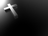 silver cross on black background with clipping path