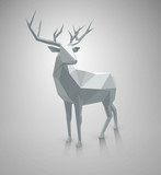 Polygonal illustration. Vector low poly deer, with space for text. Stag as graphic element for Christmas designs.