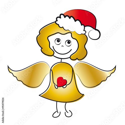 frohe weihnachten engel mit herz und goldenem haar und. Black Bedroom Furniture Sets. Home Design Ideas