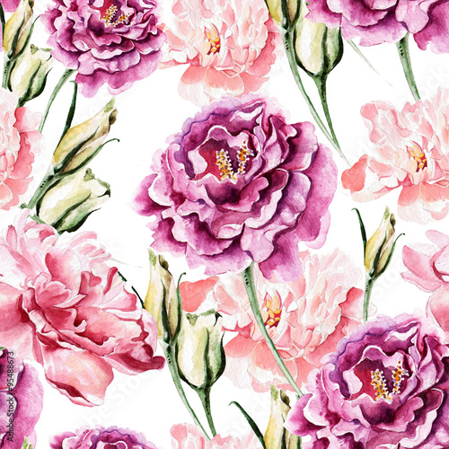 Seamless pattern with watercolor flowers.  - 95488673