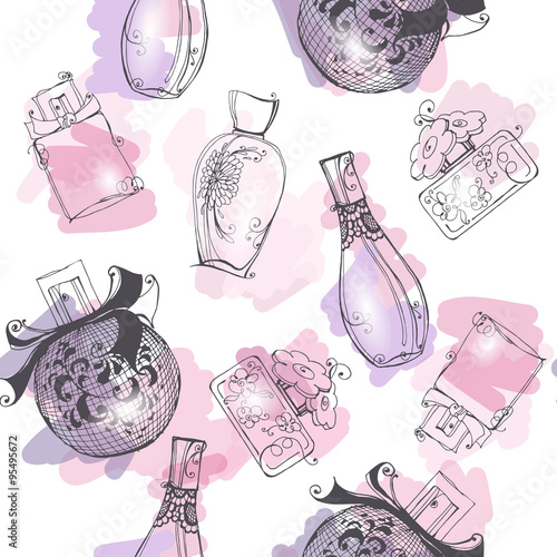 Materiał do szycia Seamless background with  Beautiful perfume bottle. Beautiful and fashion background. Vector illustration.