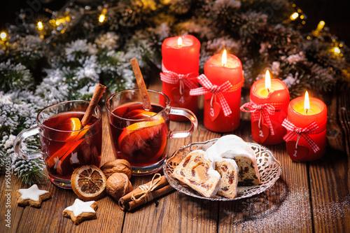 Weihnachten, Glühwein, Adventskerzen Poster