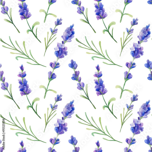 Seamless pattern with watercolor lavender - 95525804