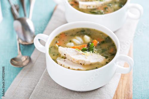"""Chicken gnocchi soup with vegetables"""" photo libre de droits sur la ..."""