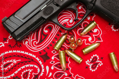 "Red Rag Bloods: Gun And Bullets On Bandana"" Stock"