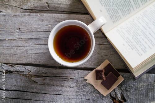 Lifestyle - tea chocolate and book
