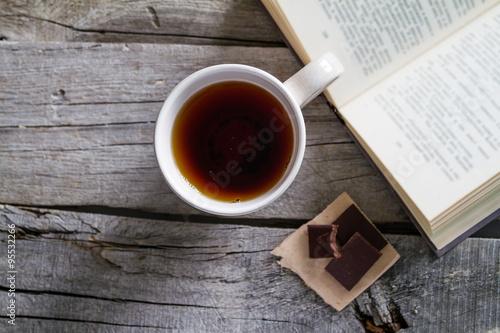 Lifestyle - tea chocolate and book