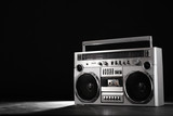 Retro ghetto music blaster isolated on black with clipping path