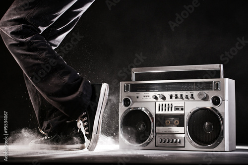 Retro ghetto boom box, dust and dancer isolated on black with cl Poster