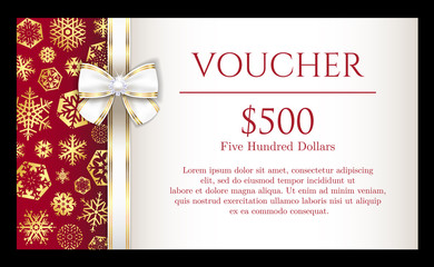 Luxury Christmas voucher with golden snowflakes and white ribbon