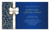 Blue romantic wedding announcement with golden floral ornament - 95547481