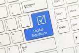 White conceptual keyboard - Digital Signature (blue key)